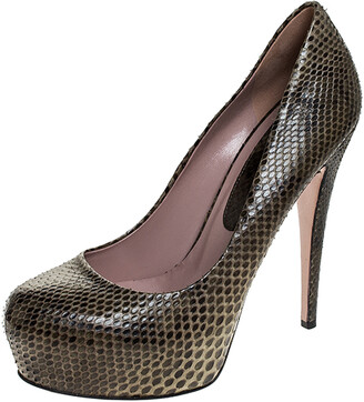 Gucci Green Two Tone Python Leather Hidden Platform Pumps Size 40