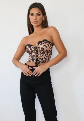 Missguided Brown Leopard Print Satin Cupped Bodice