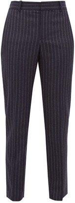 Bella Freud Rocker Chalk-striped Tapered Wool Tuxedo Trousers - Womens - Navy Stripe