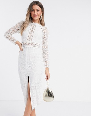 ASOS DESIGN long sleeve pencil dress in lace with geo lace trims