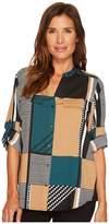 Calvin Klein Printed Roll Sleeve Women's Clothing