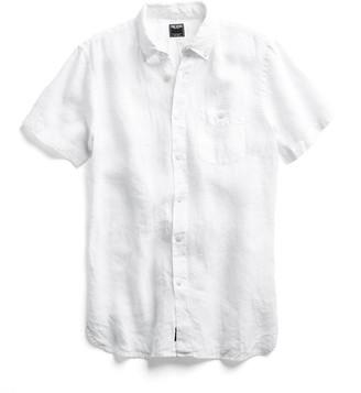 Todd Snyder Short Sleeve Linen Button Down Shirt in White