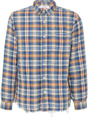 Frame Frayed-Hem Plaid Cotton Button-Up Shirt