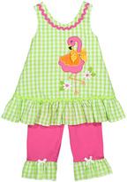 Nannette Green & Pink Flamingo Knit Top & Pants - Infant & Toddler & Girls