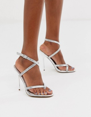 ASOS DESIGN Hooked embellished barely there heeled sandals