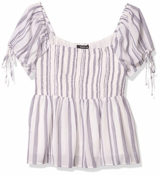 Sugar Lips Sugarlips Women's Ruffle Smocked Short Sleeve TOP