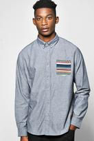 Boohoo Cotton Oxford Shirt With Aztec Pocket