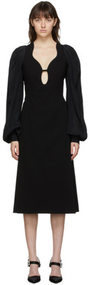 Victoria Beckham Black Keyhole Midi Dress