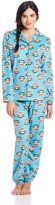 Paul Frank Junior's Winter Sparkle Julius Head PRT Notch Collar Pajama Set, Turquoise Multi