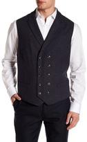 John Varvatos Double Breasted Wool Blend Vest