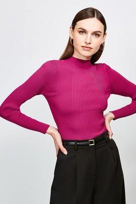Karen Millen Knit Rib Long Sleeve Funnel Neck Top