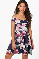 boohoo NEW Womens Jenna Floral Print Off the Shoulder Skater in Polyester