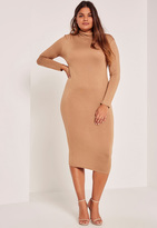 Missguided Camel Plus Size High Neck Jersey Midi Dress