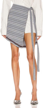 Y/Project Wrap Skirt in Grey Stripes | FWRD