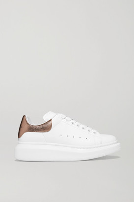 Alexander McQueen Metallic-trimmed Leather Exaggerated-sole Sneakers - White