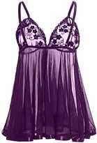 YouYaYZAI Women Spaghetti (S-6XL) Sexy Lingerie Set Lace Chemise Babydoll Nightwear