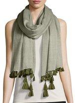 Eileen Fisher Cross-Dyed Wool-Blend Scarf w/ Tassels
