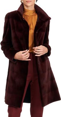 Gorski Reversible Sheared Mink Fur & Silk Stroller Coat