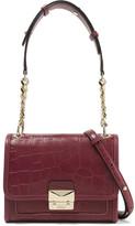 Karl Lagerfeld Mini Croc-effect Leather Shoulder Bag - Claret