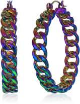 Steve Madden Curb Hoop Hinge Earrings