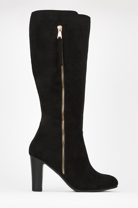 Wallis Black Formal Side Zip High Leg Boot