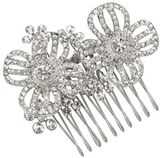 Designer silver crystal double flower comb