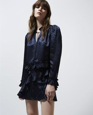 The Kooples Blue jacquard short frilly skirt