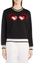 Fendi Beating Hearts Sweater with Genuine Fox Fur Trim