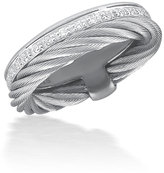 Alor Micro-Cable Pave Diamond Double-Band Ring, Size 6.5