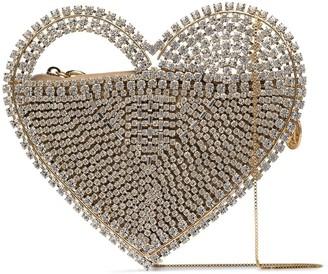 Rosantica Rejina heart crystal clutch bag