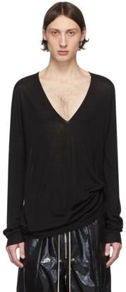 Rick Owens Black Wool V-Neck Sweater