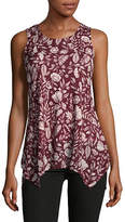 Style And Co. Sleeveless Printed Mesh Sharkbite Tunic