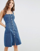 Honey Punch Denim Pinafore Dress