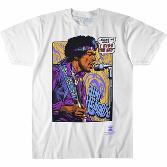 Liquid Blue Unisex Adult Jimi Hendrix Pop Art 'Scuse Me While Kiss The Sky T-Shirt T Shirt