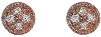 Carriere Rose Gold Plated Sterling Silver Diamond Button Stud Earrings - 0.03 ctw