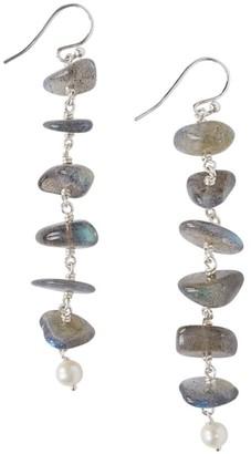 Chan Luu 4.5MM-5MM White Freshwater Pearl Labradorite Linear Drop Earrings