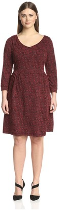 Melissa Masse Plus Women's Printed Fit-and-Flare Dress