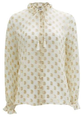 Etro Breton Paisley Fil-coupe Silk-georgette Blouse - White Gold