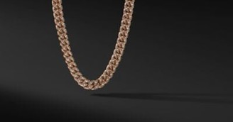David Yurman Curb Chain Necklace In 18K Rose Gold With Cognac Diamonds