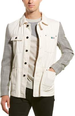 Lanvin Workwear Wool-Sleeve Washed Jacket