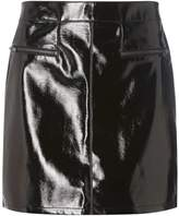Dorothy Perkins Black Vinyl Zip Mini Skirt