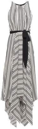 Halston Asymmetric Cutout Striped Crepe Maxi Dress