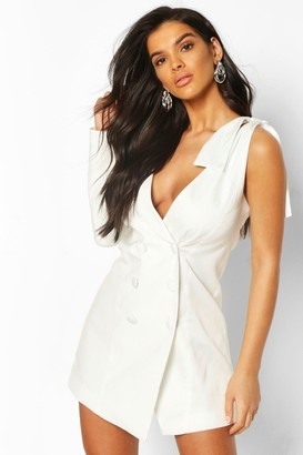 boohoo Bow Detail One Shoulder Blazer Dress