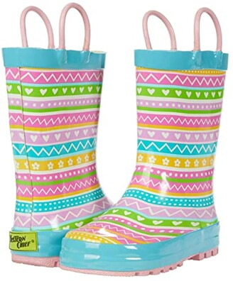 Western Chief Spring Stripe Rain Boots (Toddler/Little Kid) (Multi) Girl's Shoes