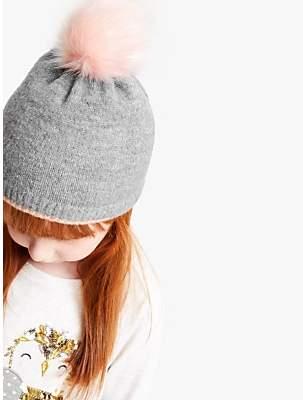 John Lewis & Partners Children's Glittery Pom Pom Beanie Hat, Grey