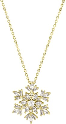 La Lumiere Yellow gold-Plated Sterling Silver and Swarovski Zirconia Snowflake Pendant Necklace 40.54cm + 5.08cm Extender