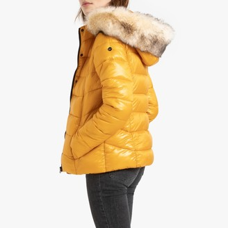 Kaporal Short Padded Jacket with Faux Fur Hood and Pockets
