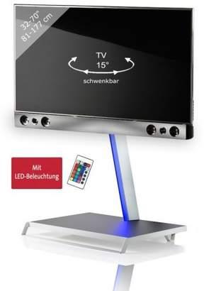 "VCM TV Pedestal + Soundbar Holder Presentation Bracket Stand 32""-70""""SBM100 Swivel White/Silver"