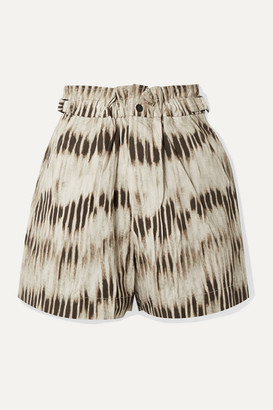 Isabel Marant Ilirya Printed Denim Shorts - Army green