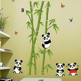Pretty Moment Home&Kitchen Decor PVC Wall Poster Removable Cute Panda Eating Bamboo Nursery Art Decal Paper